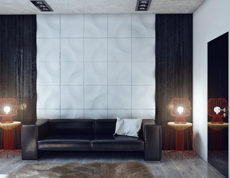 ideas para decorar salon casa rojo cuero