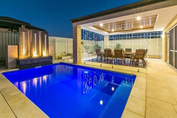 iluminacion jardines fiesta diseños piscina terraza