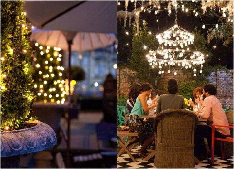 iluminacion jardines fiesta diseños arboles