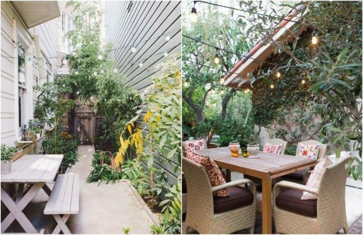 iluminacion jardines maderas bancas mesas