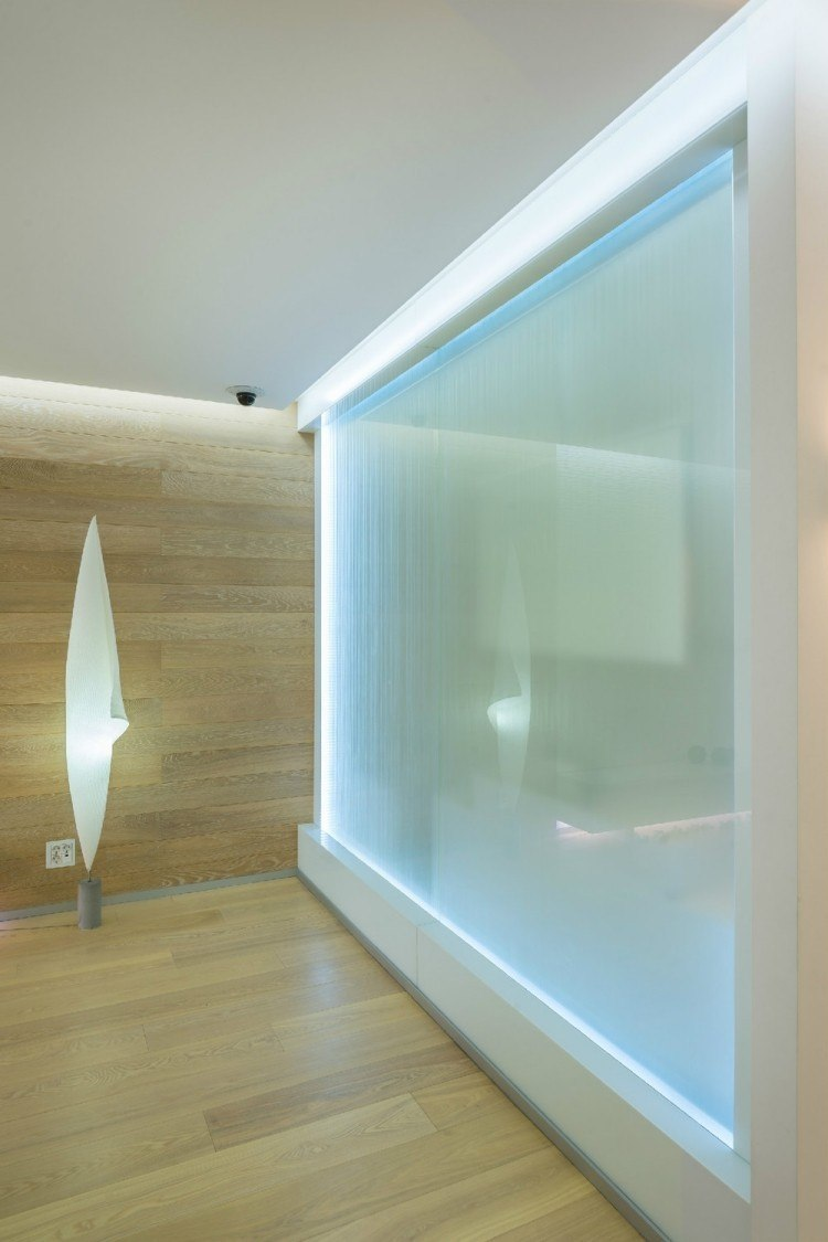 iluminacion led opciones pared panel cristal ideas