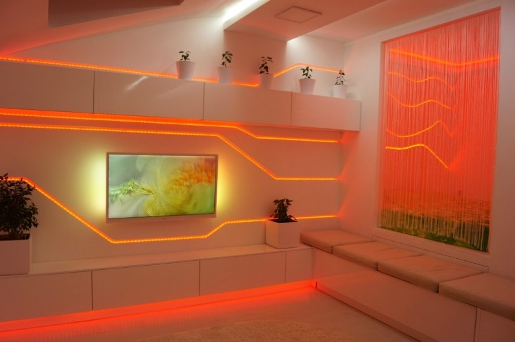 iluminacion original pared LED naranja ideas