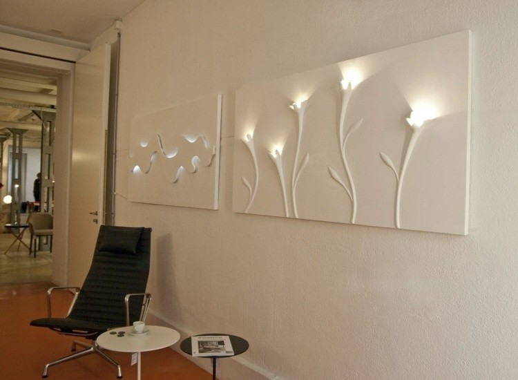 iluminacion opciones originales pared cuadros blancos ideas