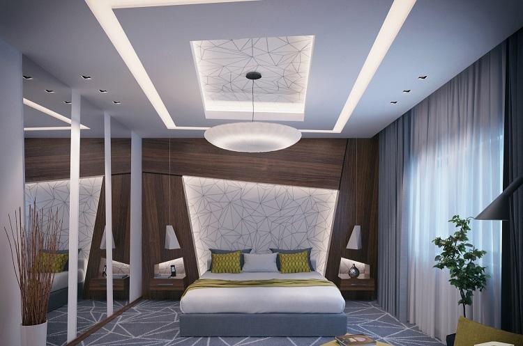 iluminacion opciones originales pared diseno geometrico ideas