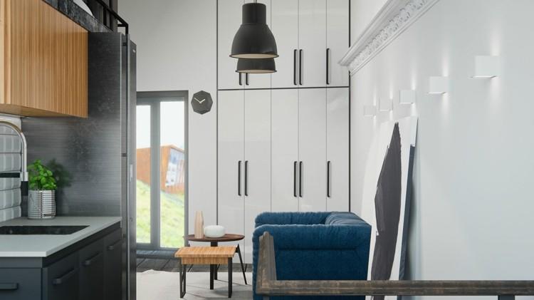 estantes madera sitios muebles lamparas