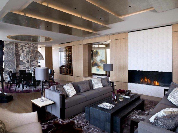 interiorismo ideas madera chimenea led