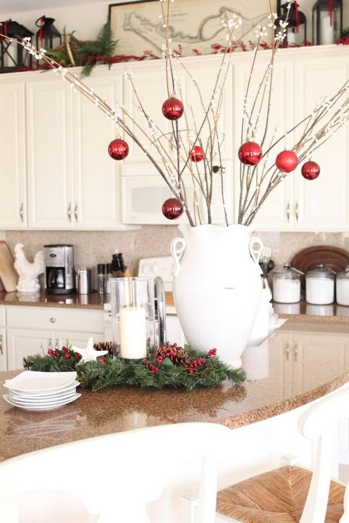invierno opciones decorar cocina bolas rojas ideas