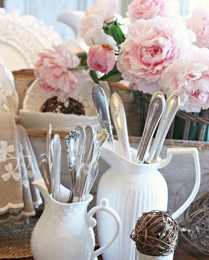 invierno opciones decorar cocina jarrones blancos ideas