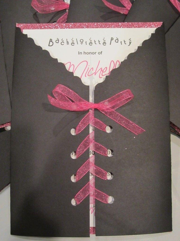 invitaciones de cumpleaños color negro lazo rosa ideas