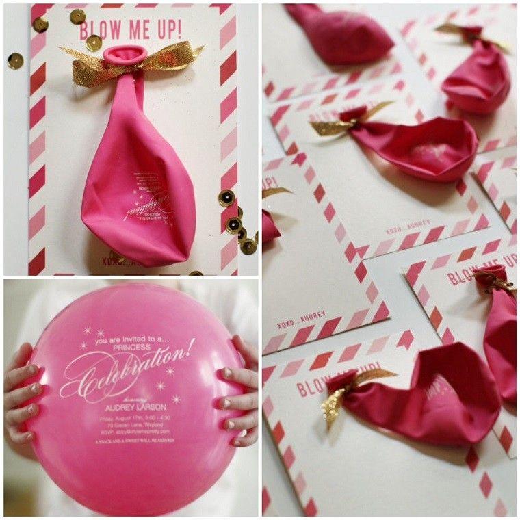 invitaciones de cumpleaños globos rosa ideas