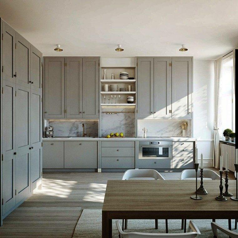 isla cocina muebles retro grises