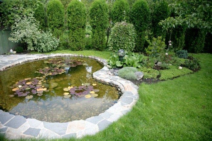 jardin amplio moderno estanque ideas