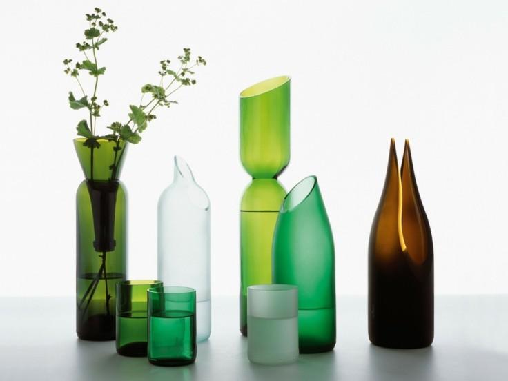 jarrones modernos botellas cortadas verdes