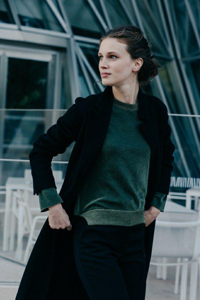jersey verde abrigo negro largo moderno ideas