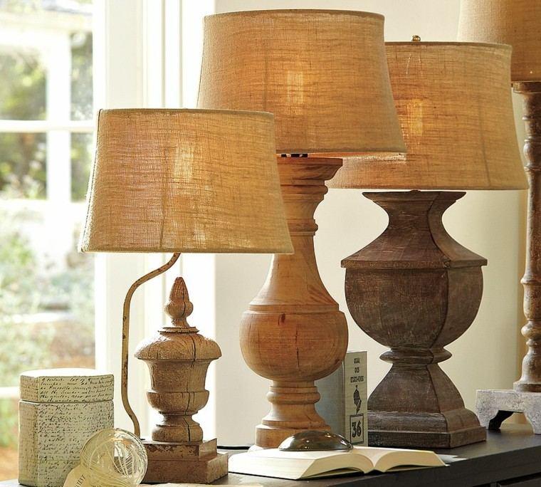 lamparas arpillera madera estilo rustico ideas