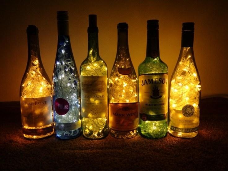 lamparas luces navidad botellas