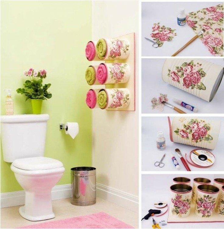 decoracion DIY latas metal decoradas toalleros baño