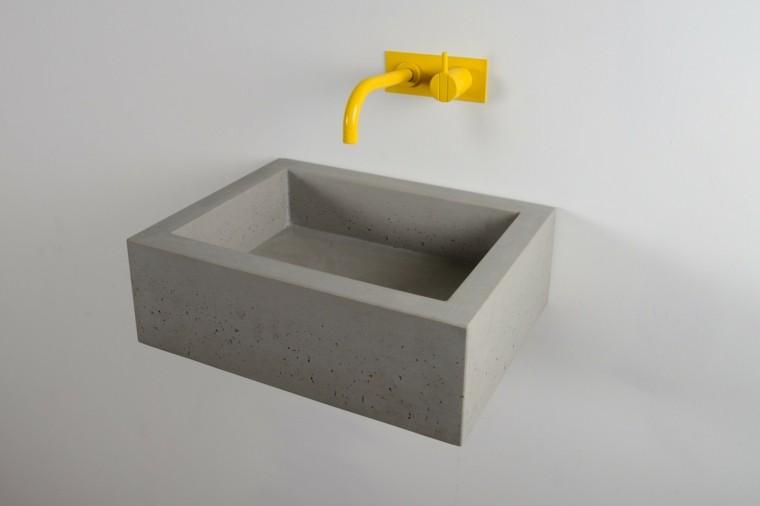 lavabo microcemento baños grifo amarillo