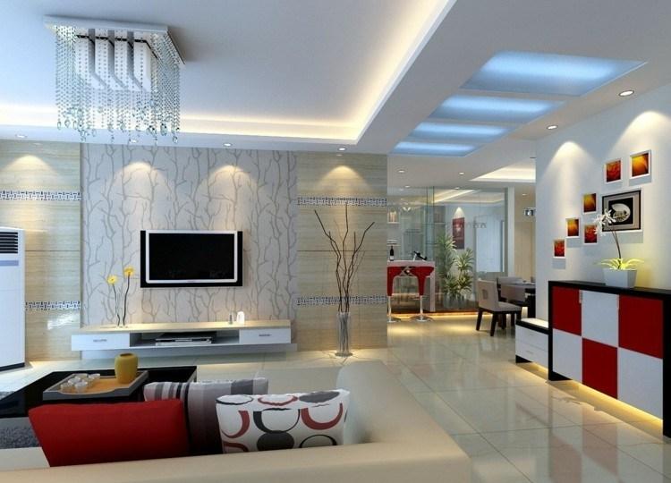 led luces fresco mueble sofa rojo