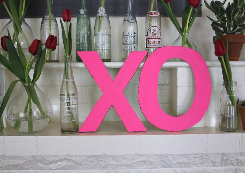 letras carton color rosa