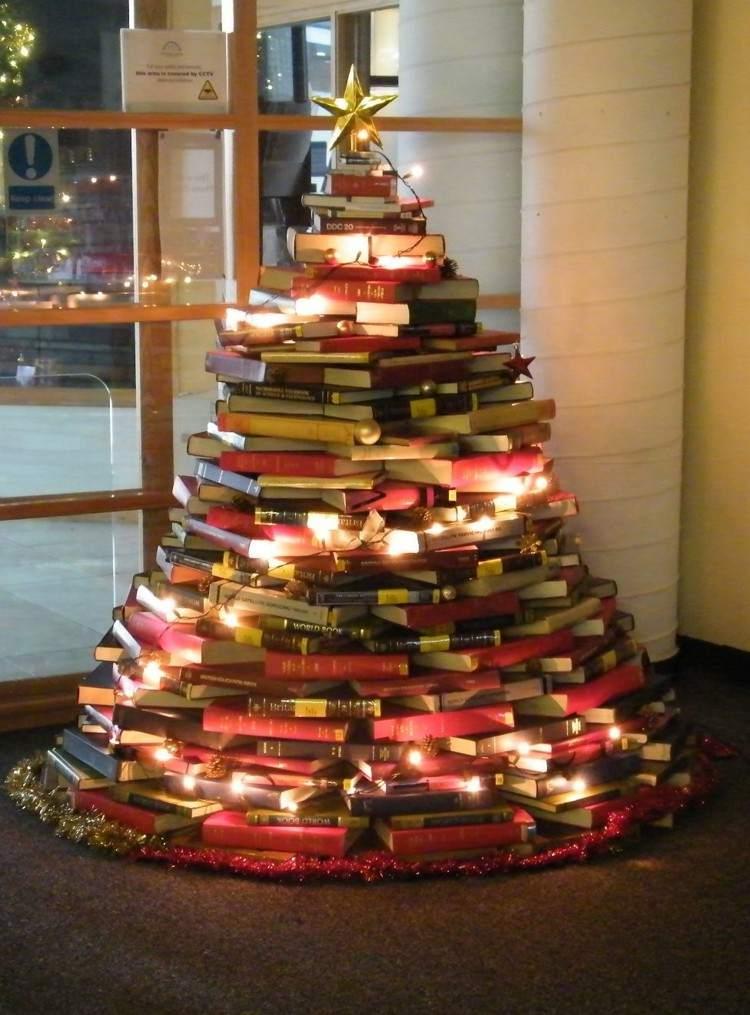 libros arboles navidad ventanas librero