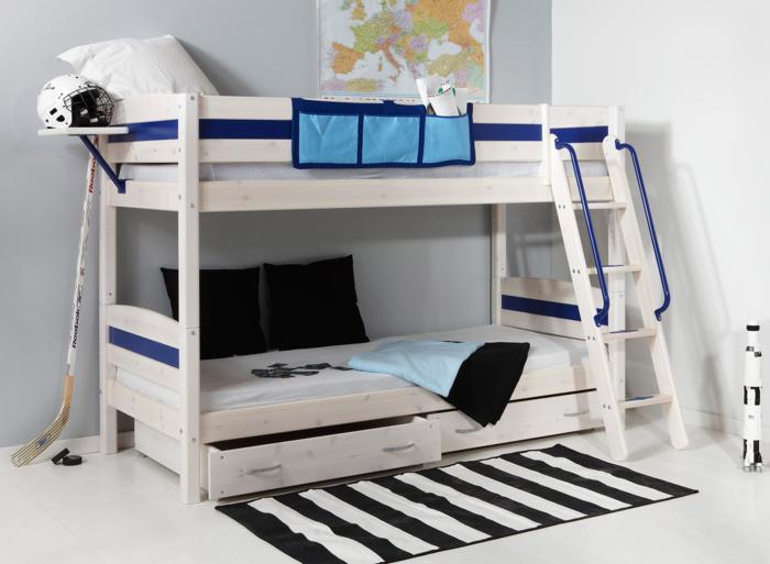 literas habitacion infantil blanco azules lineas