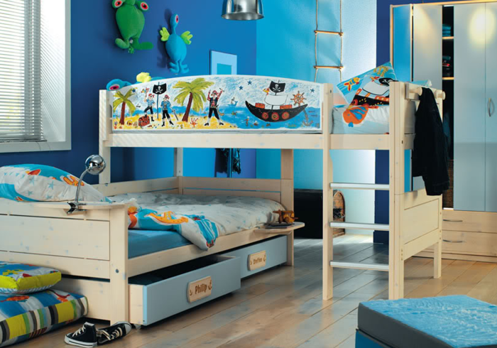 literas habitacion infantil maderas zapatos gavetas