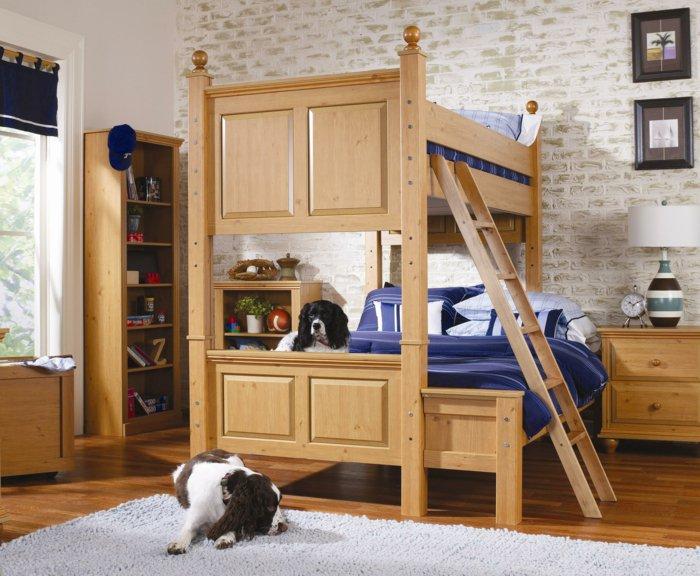 literas habitacion infantil perro cortinas ladrillos