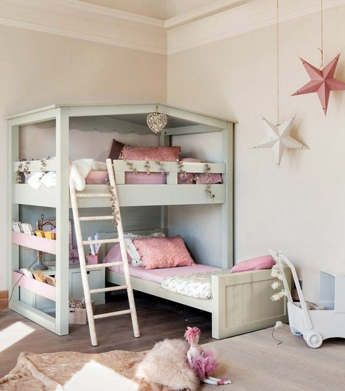 literas habitacion infantil rosa cables cojines