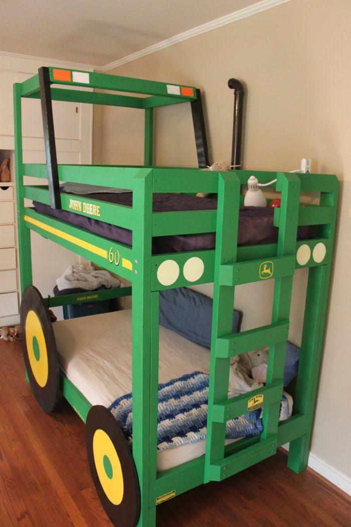 literas habitacion infantil verdes autos madera