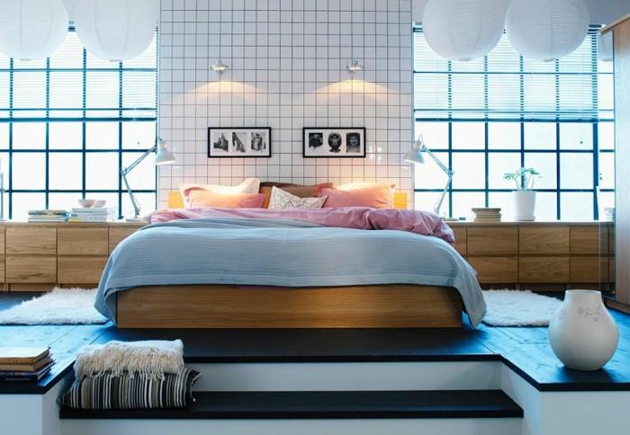 losas blancas pared dormitorio suelo madera ideas