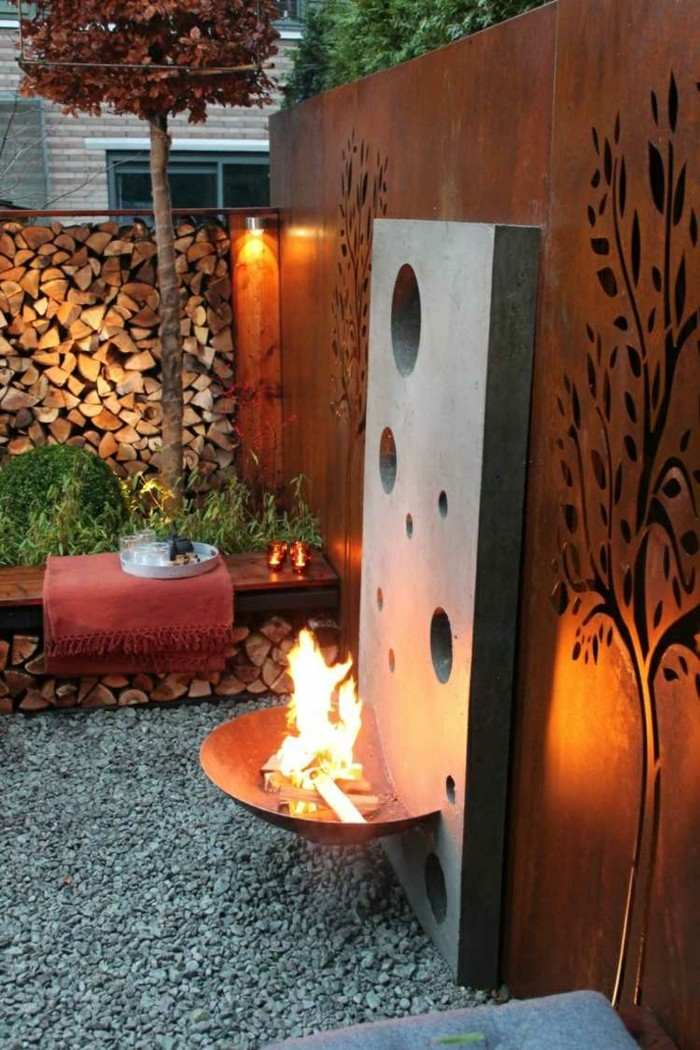lugares fuego jardin decorado iluminado ideas