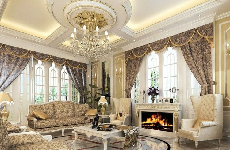 lujo diseño fresco mueble chimenea dorado