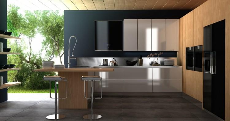 modelos de cocinas estantes bajos marrones jardines