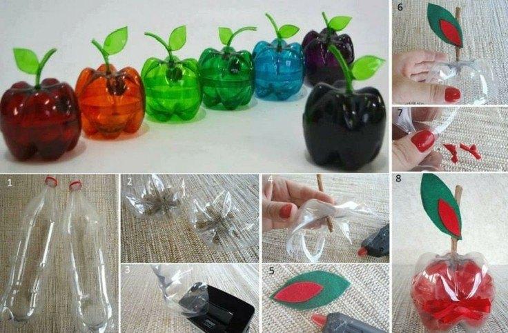 manzanas culos botellas plastico deco