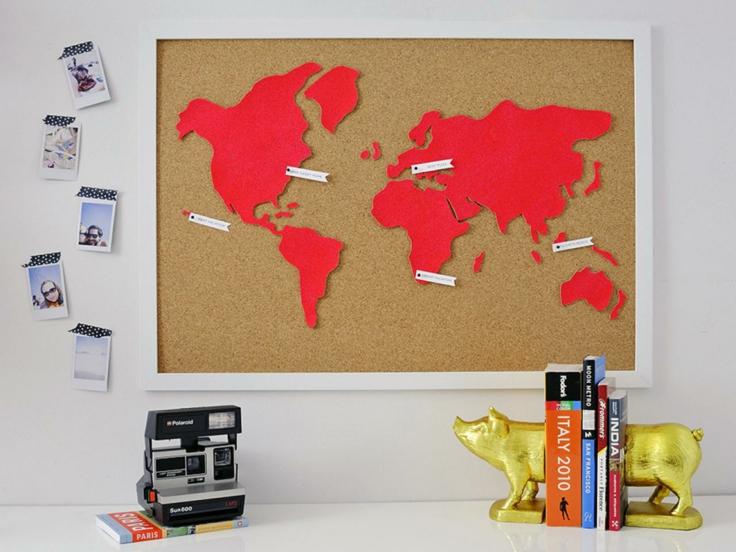 mapa mundi tablon corcho cartulina roja