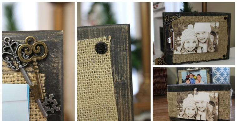 marco fotos madera arpillera ideas