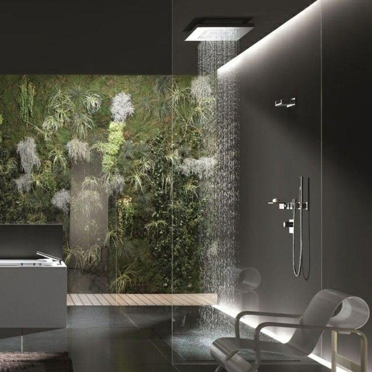 marmol negro ideas grises ducha plantas
