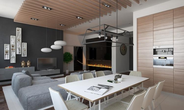 mesa casa colores paredes grises