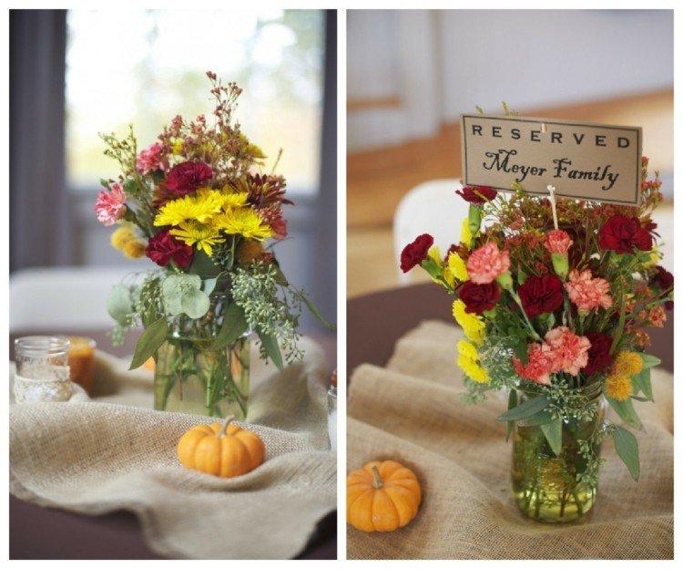 mesa decoracion boda alargado calabazas amarillo