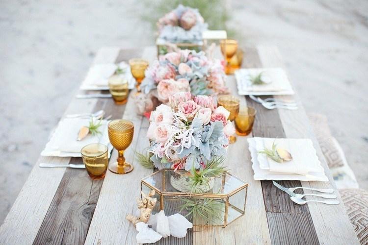 mesa decoracion boda alargado dorados