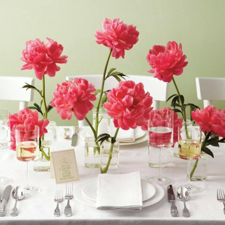 mesa decoracion boda flores vidrios