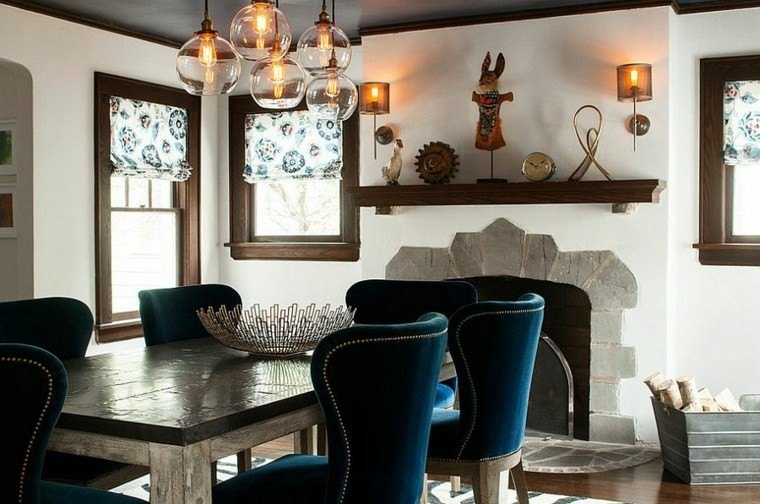 mesa madera sillas terciopelo comedor moderno ideas