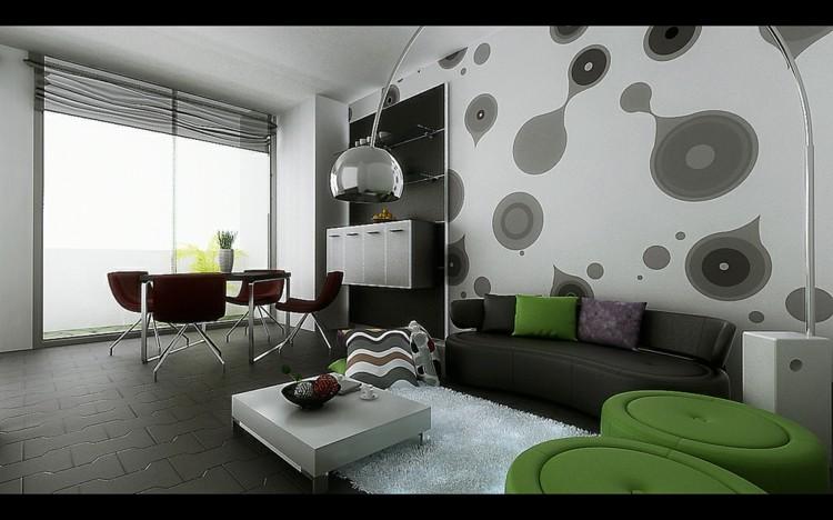 mesas madera plantas grises paredes
