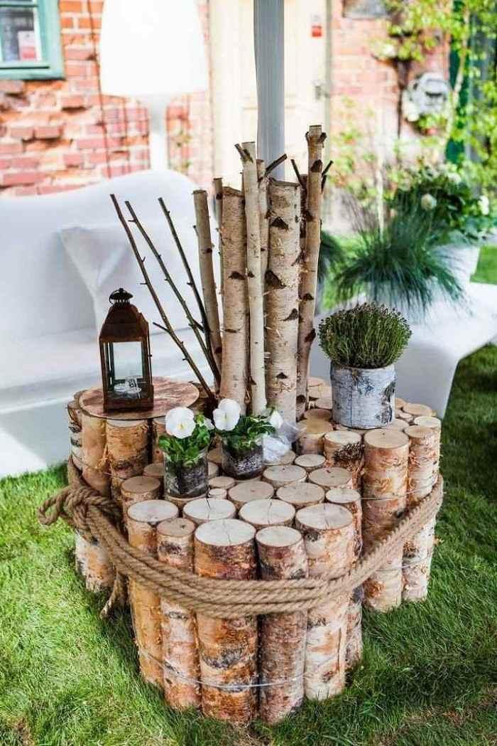 mesas originales troncos madera jardin ideas