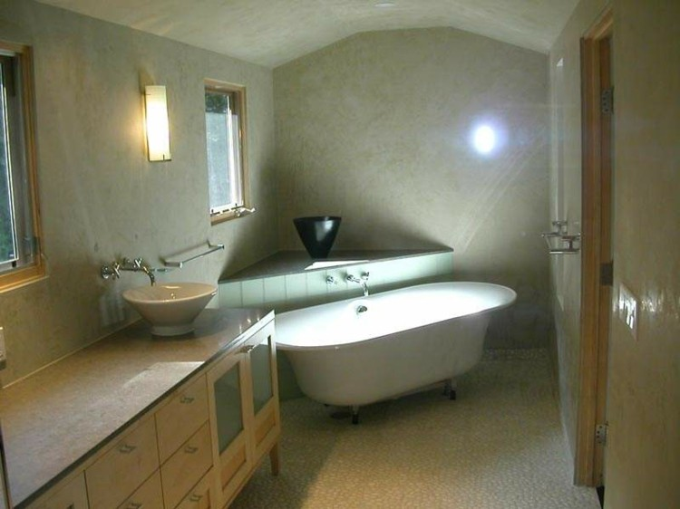 microcemento baños decorado madera encimera