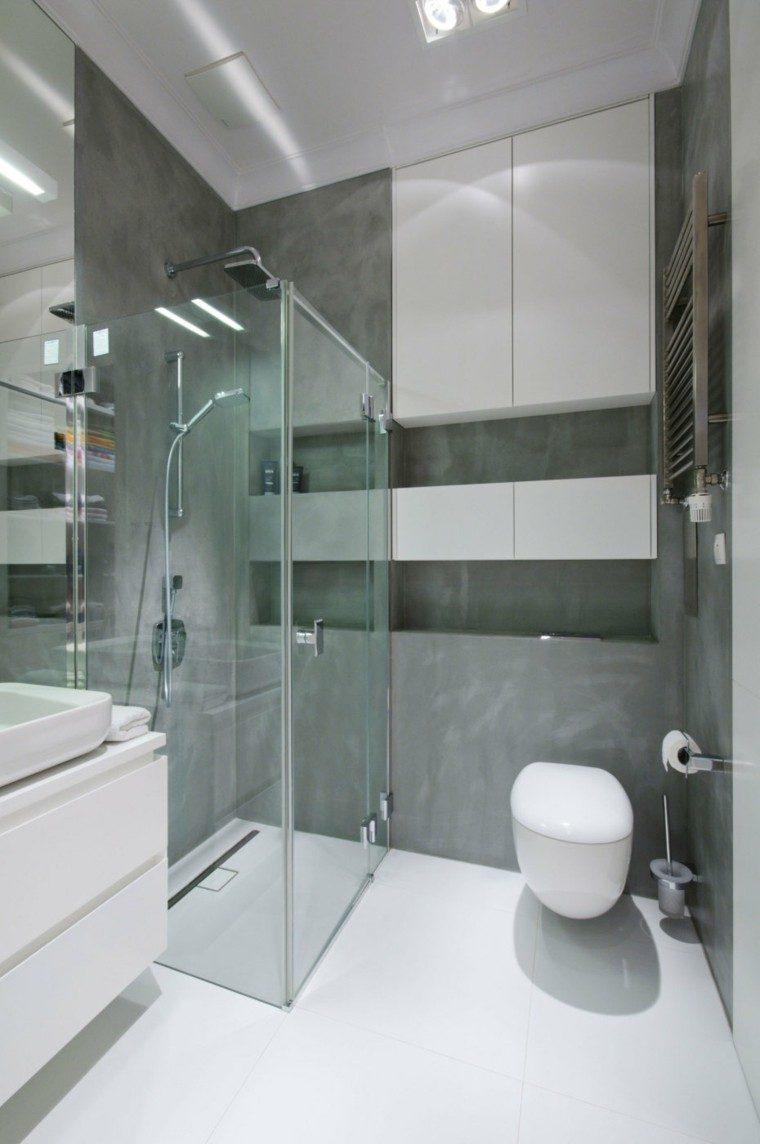 microcemento baños pequeños modernos