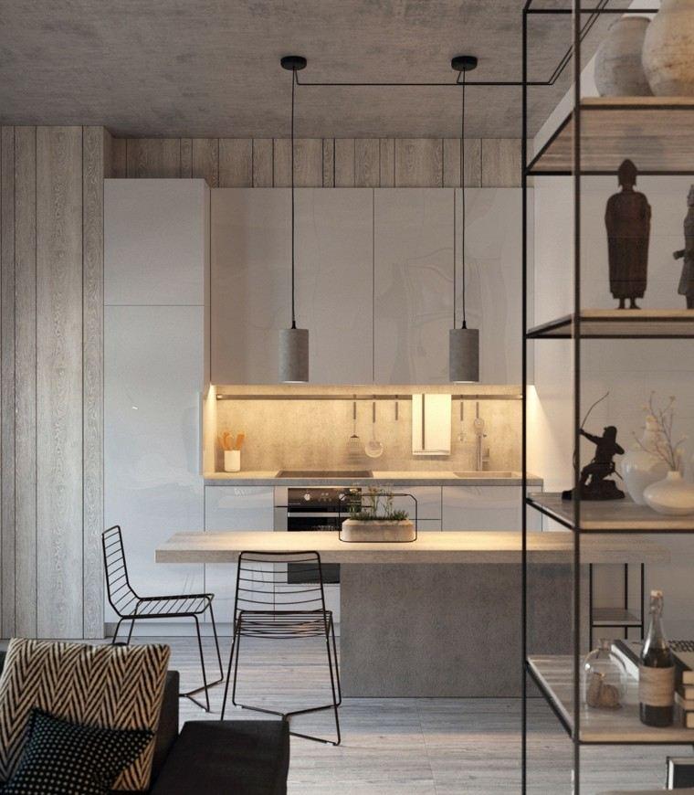 minimalista cocina sillas metales estantes