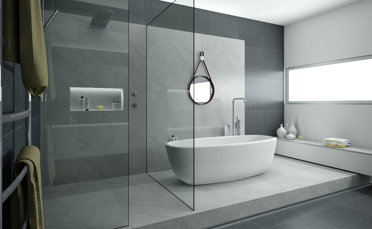 Baños Gris Con Blanco:baño con una gran ducha abierta y con bañera independiente