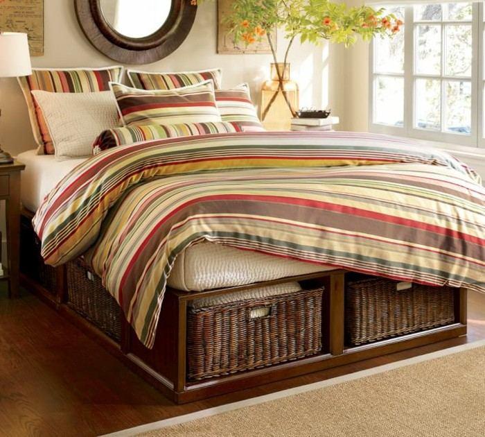 mirada natural dormitorio cama lugar cestos adornos pared ideas